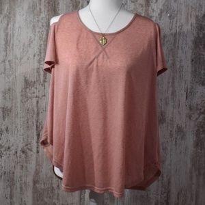 Umgee Pink Cold Shoulder Soft Top Large